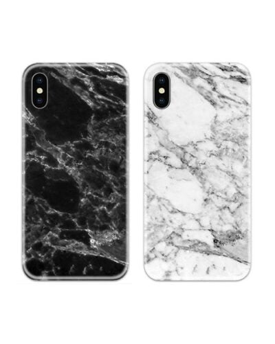 Black and White Marble Couple Case Back Covers