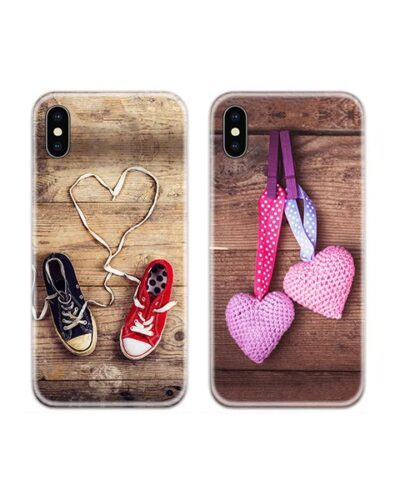 Hanging Hearts and Shoes Couple Case Back Covers