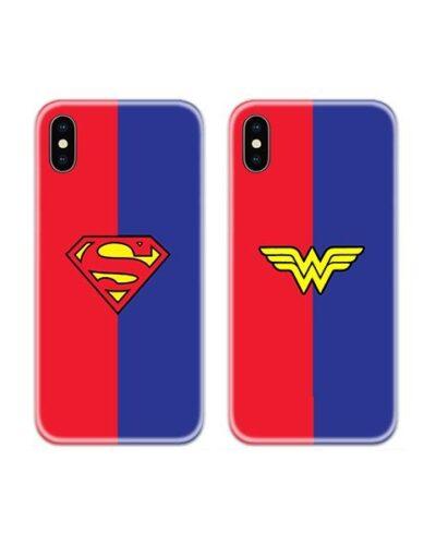 Superman Wonder Woman Logos Couple Case Back Covers
