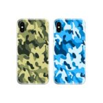 Military Camouflage Green Blue Couple Case Back Covers