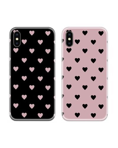 Black Pink Heart Couple Case Back Covers