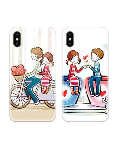 Cute Loving Art Couple Case Back Covers