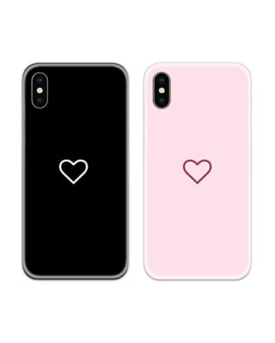 Heart Black and Pink Couple Case Back Covers