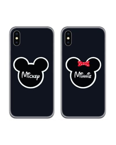 Mickey Minnie Logos Couple Case Back Covers