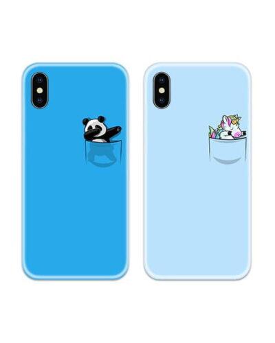 Panda Unicorn Dab Couple Case Back Covers