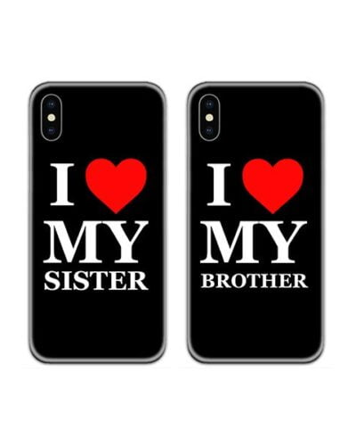 I Love My Brother Sister Couple Case Back Covers